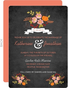 Chalk and Coral Wedding Invitation