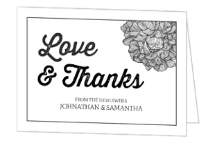 Black And White Flower Thank You Card