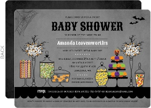 Halloween Themed Candy Table Baby Shower Invitation