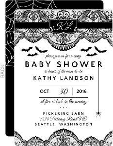 Scary Black Lace Halloween Baby Shower Invitation