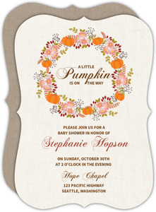 Burlap Pattern Fall Baby Shower Invitation