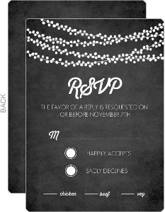Rustic String Lights Wedding Response Card