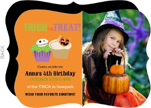 Trick or Treat Cupcakes Halloween Birthday Invitation