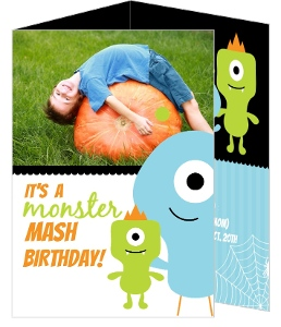 Green Little Monsters Halloween Birthday Invitation