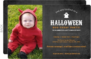 Cute Ghost Chalkboard Halloween Birthday Invitation