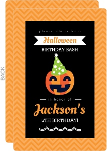 Party Hat Pumpkin Halloween Birthday Invitation