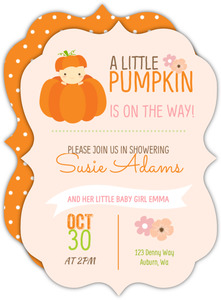 Little Baby Pumpkin Baby Shower Invitation