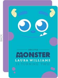 Cute Blue Monster Kids Birthday Invitation