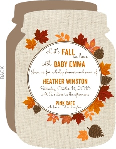 Rustic Leaves Wreath Baby Shower Invitation