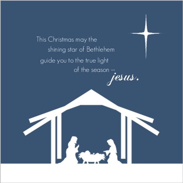 Blue Nativity Christmas Card   Christmas Cards