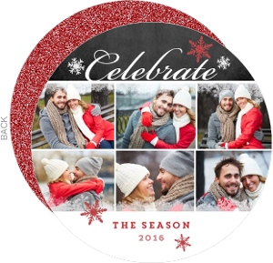 Faux Red Glitter Celebrate Holiday Photo Card