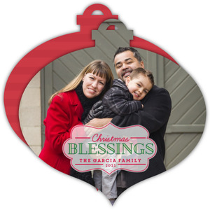 Beautiful Christmas Blessings Ornament Photo Card