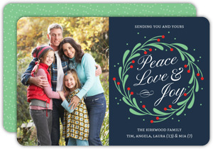 Cute Mistletoe Wreath Holiday Photo Card