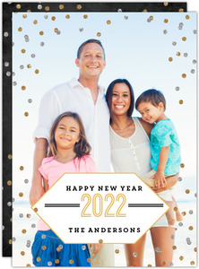 Faux Silver and Gold Glitter New Years Photo Card