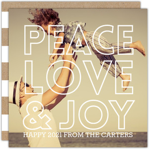 Peace Love and Joy Overlay New Years Photo Card