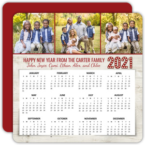 Rustic Three Photo New Years Calendar Card