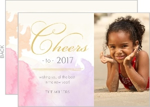 Soft Pink Watercolor Photo New Years Card