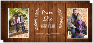 Simple Western Woodgrain Photo New Years Card
