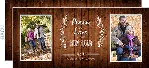 Simple Western Woodgrain Photo New Years Card