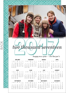 Turquoise and Gray Wintry Photo Calendar New Years Card