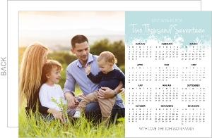 Sweet Blue Snowflake Calendar New Years Card