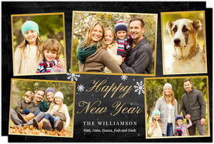 Gold Frame Photo Collage New Years Card