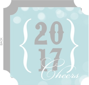 Gray Blue Bracket New Years Card