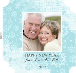 Blue Snow Fall Photo New Years Card