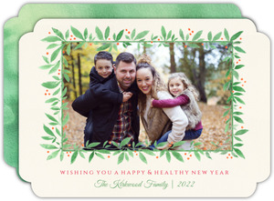 Watercolor Greenery New Years Photo Card