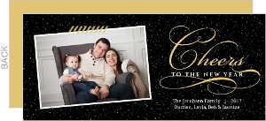 Fancy Black Gold Cheers Photo New Years Card