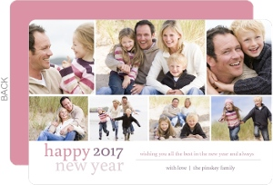 Simple Family Photo Grid New Years Card