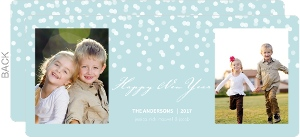 Wintry Snowfall Pale Blue New Years Card