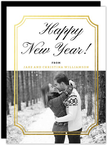 Gold Foil Ticket Frame New Years Photo Card