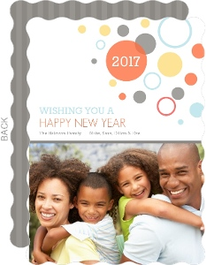 Modern Colorful Circles Photo New Years Card