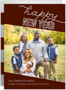 Silver Faux Foil Angled Frame New Years Card