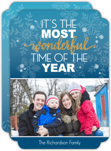 Flurry Frostbite Snowflake Holiday Photo Card
