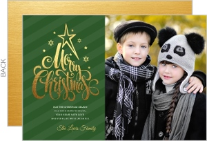 Faux Gold Typography Christmas Photo Card