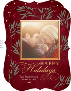 Rich Red and Gold Berry Branches Holiday Photo Card