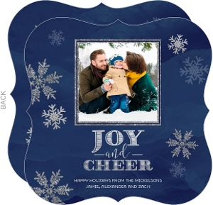 Faux Glitter Silver Snowflakes Holiday Photo Card