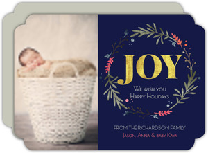 Faux Foil Wreath Holiday Photo Card