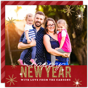 Rich Red and Faux Gold Glitter New Years Photo Card
