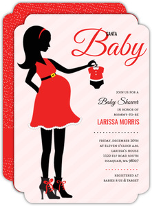 Christmas Mom Silhouette Baby Shower Invitation