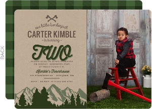 Green Mountains & Kraft Lumberjack Birthday Invitation