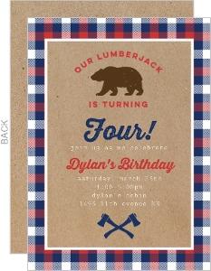 Kraft Bear Lumberjack Birthday Party Invitation