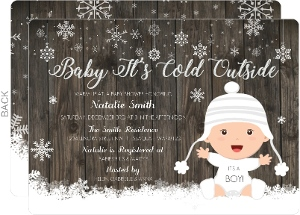 Woodgrain Winter Snow Baby Shower Invitation