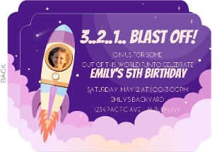 Space Shuttle Pink Clouds Birthday Party Invitation