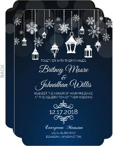 Whimsical Winter Lantern Wedding Invitation