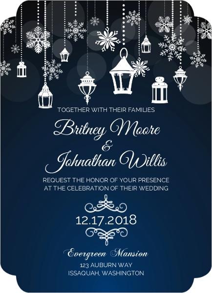 whimsical winter lantern wedding invitation - Lantern Wedding Invitations
