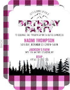 Pink Flannel Lumberjill Birthday Invitation