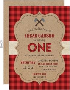 Red Checked Pattern Lumberjack Birthday Invitation